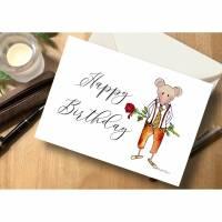 """Briefkarte Maus mit Rose """"Happy Birthday"""" Bild 1"""