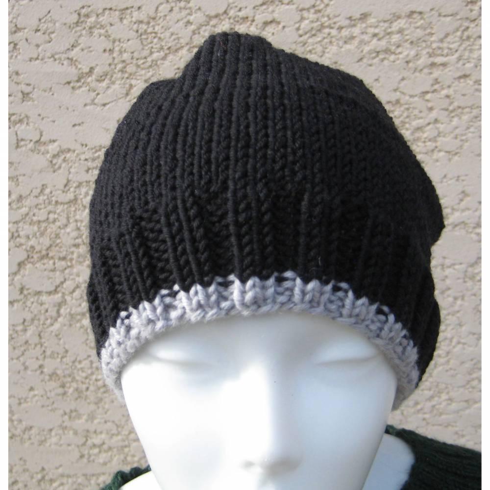 Beanie-Mütze ♡ Männermütze - gestrickt - 100% Wolle (Merino) - Farbe Schwarz mit Hellgrauem Rand -  Doris_strickt  Bild 1