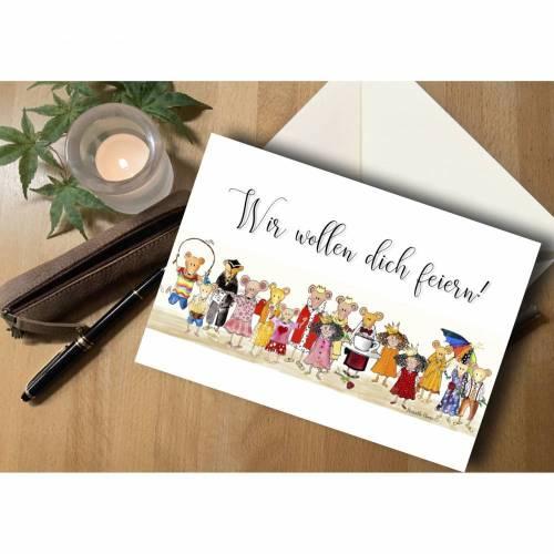 """Briefkarte Mäuse """"Wir wollen dich feiern"""""""