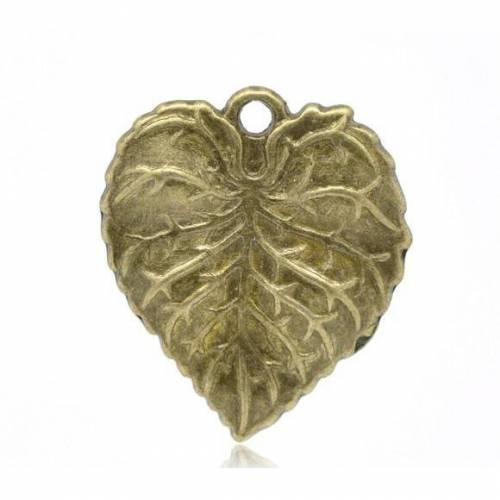 20 Anhänger ,Blatt, Blätter,bronze, Vintage-Stil , charm, charms, Schmuckanhänger,  14447