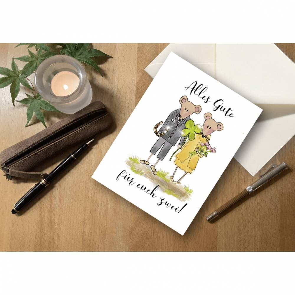 """Briefkarte Mäuse """"Alles Gute für euch zwei!"""" Bild 1"""