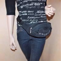 Schwarze Hüfttasche , Jeans Upcycling Bild 1