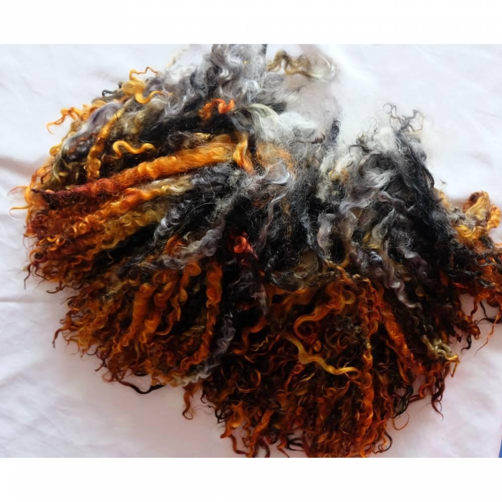 20 Gramm kupfer-grau-schwarz gefärbte Wensleydale Locken, Filzen, Puppenhaar, Spinnen, Basteln und Weben Bild 1