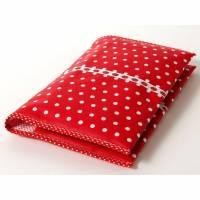 Wickeltasche, Windeltasche, rot mit weißen Pünktchen, Erdbeerband, beschichtete Baumwolle Bild 1
