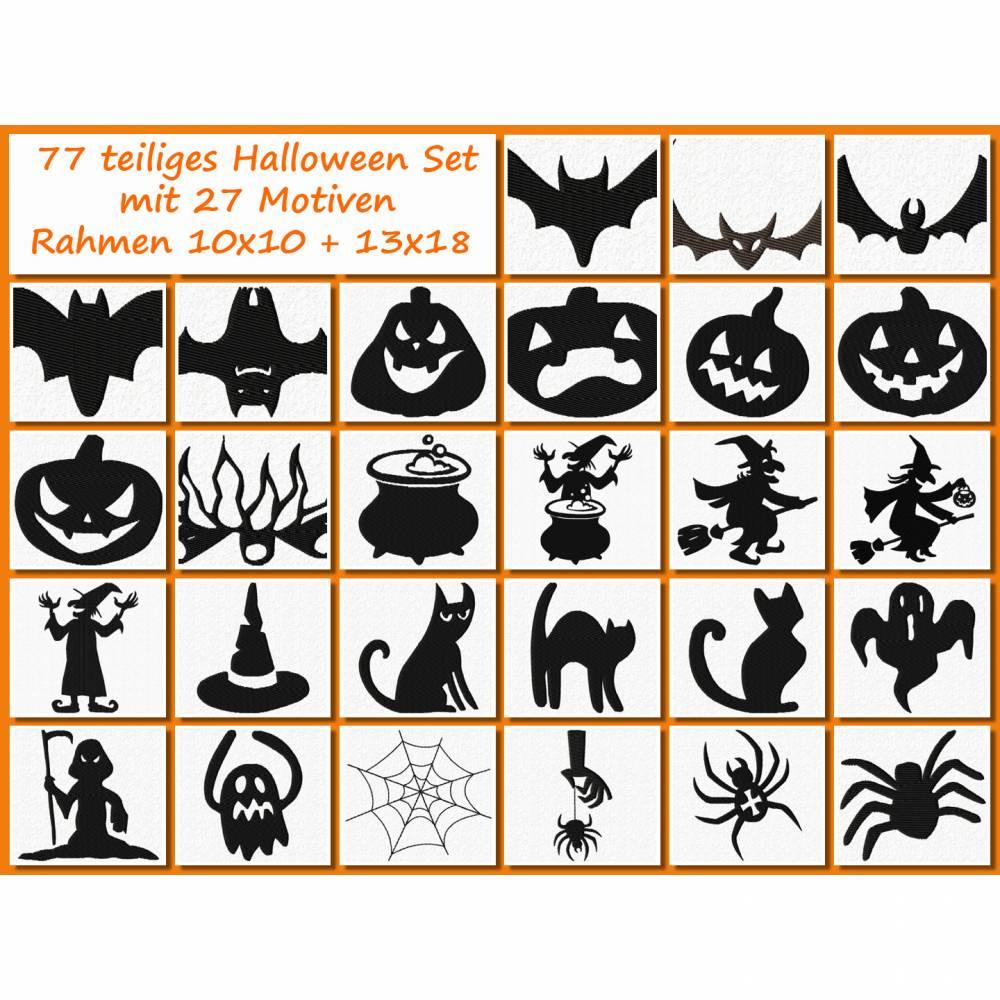 77 teiliges Halloween Stickdatei Set mit 27 Motiven in verschiedenen Größen Bild 1