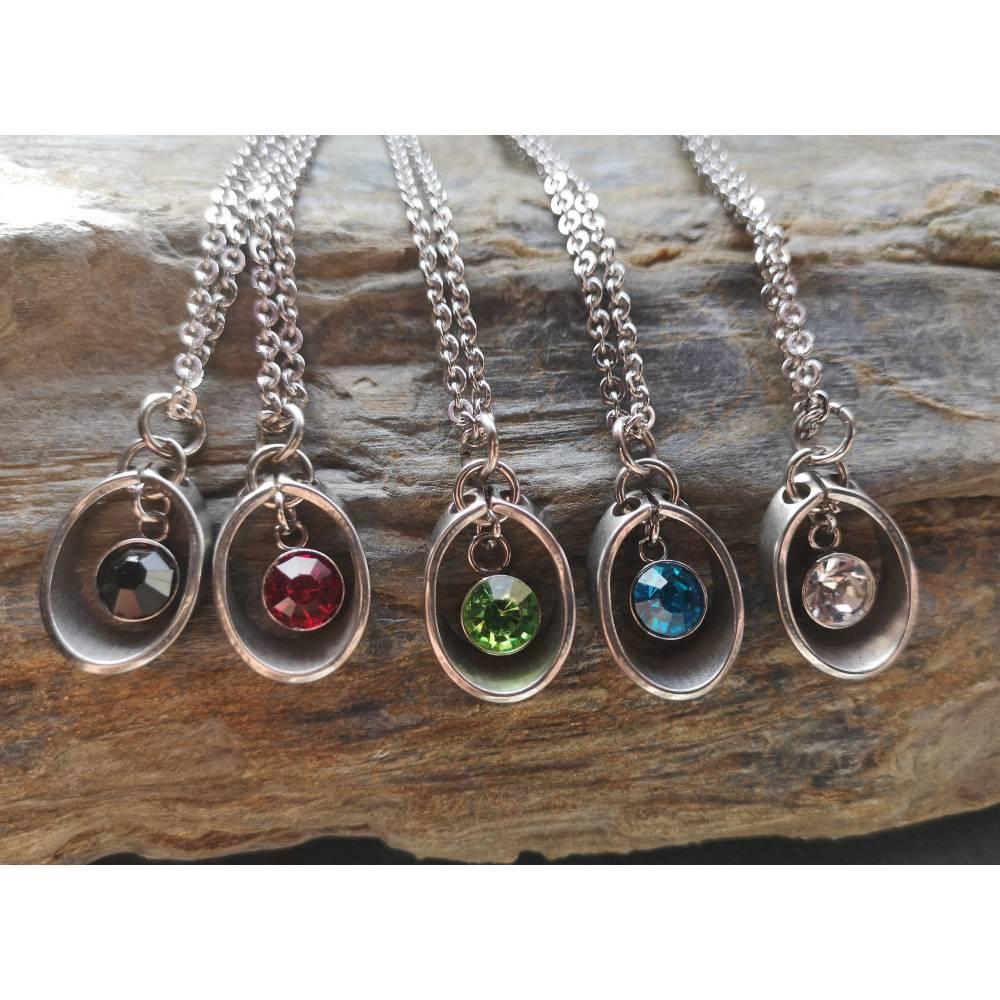 Minimalistische Kette, Edelstahl, Damenkette, Halskette, Strass, Kettenlänge und Farbe wählbar Bild 1