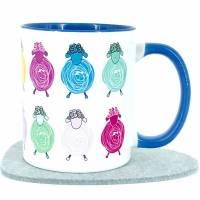 Geschenk Tasse Schaf-Herde Tier-Motiv Kaffeebecher hellblau Weihnachten