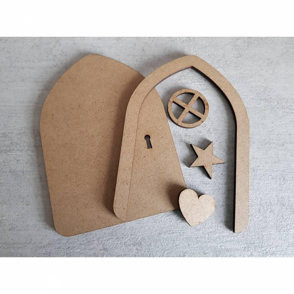 Bausatz Bastelset Wichteltür Feentür Mäusetür Elfentür Tür  mit Fenster Bild 1