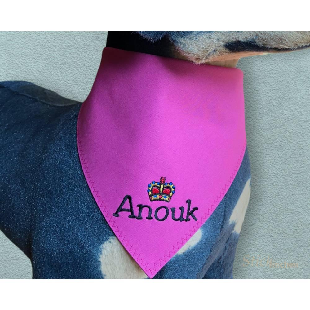 Hundehalstuch pink mit Namen und Motiv personalisiert / bestickt - über 200 Hundemotive - viele Schriftarten Bild 1