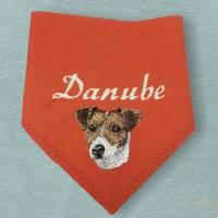 Hundehalstuch orange mit Namen und Motiv personalisiert / bestickt - über 200 Hundemotive - viele Schriftarten Bild 1