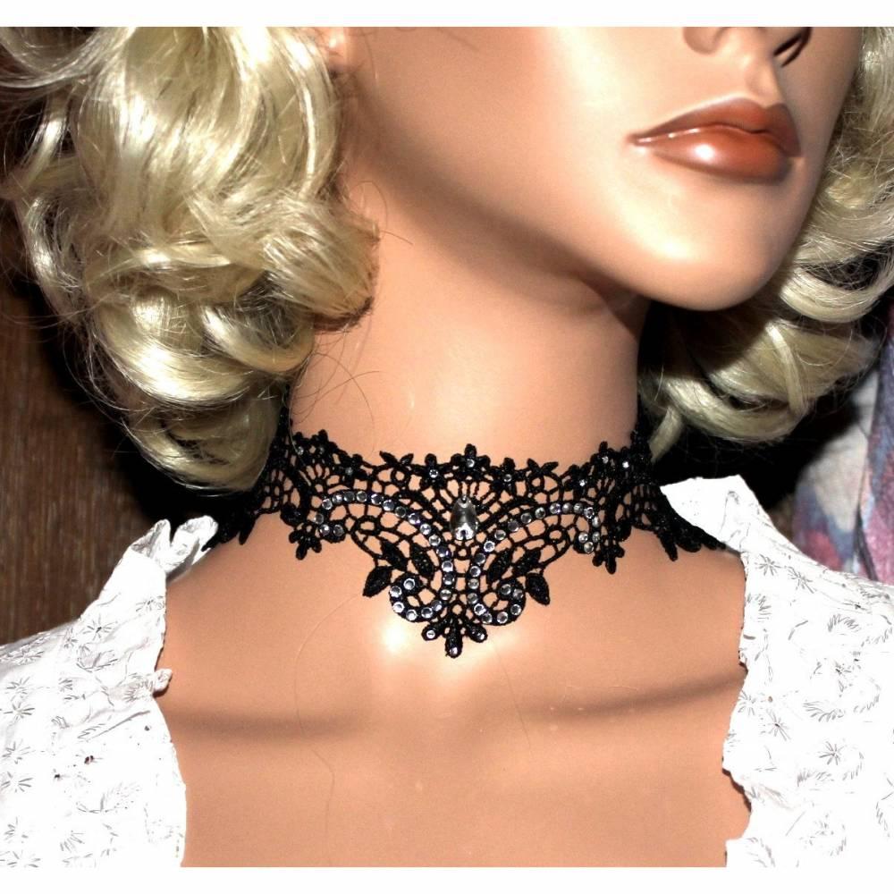 Gothic goth Choker Halskett Halsband Spitze lace schwarz Collier Kette Kragen KQ