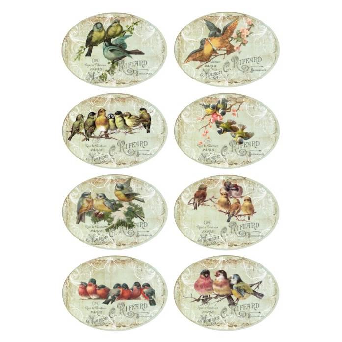 Aufkleber - Etiketten - Papier - Folie - Vögel - Vintage - Shabby - 1183 Bild 1