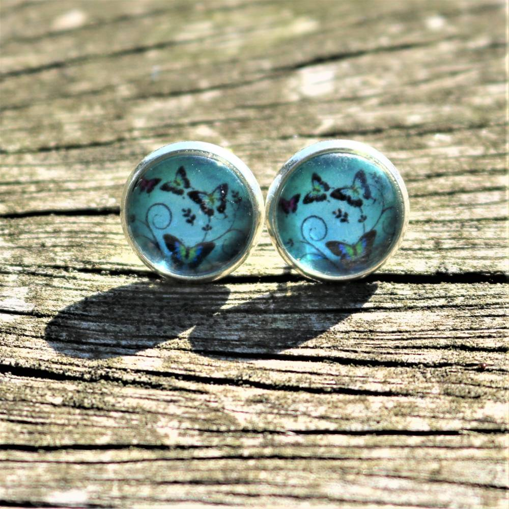 Ohrringe Ohrschmuck Ohrhänger echte Pusteblume silberfarben blau rund