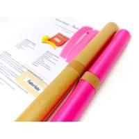 DIY Nähset, Kunstleder gold- pinkes Futter, Nähpaket Lunchbag, Badetasche, ausgedruckter Schnitt, Nähanleitung und sämtliche Zutaten Bild 1