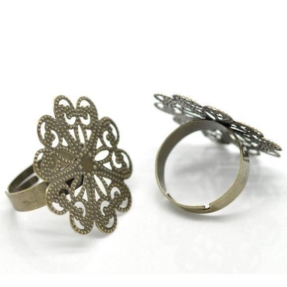 5 Ring, Ringrohling, bronze, Vintage-Stil, verziert, Cabochon, Klebestein, 16269 Bild 1