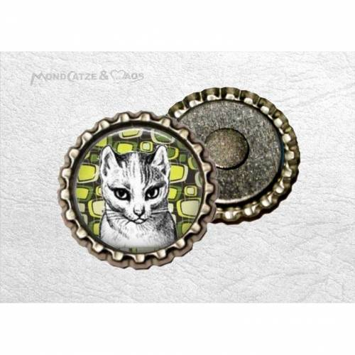 Kronkorken - Magnet, RETRO CAT, bottlecap Kühlschrankmagnet