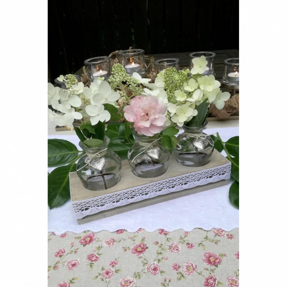 BLUMENARRANGEMENT, Blumenvase, Tischdeko, Glasvase, Hochzeit, Kommunion, Taufe, Konfirmation, Papierwiese, Heiraten Bild 1