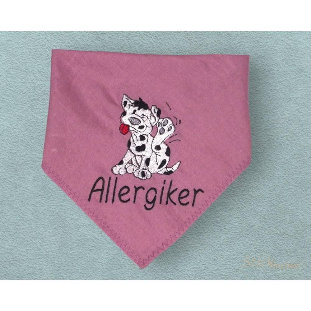Hundehalstuch altrosa mit Namen und Motiv personalisiert / bestickt - über 200 Hundemotive - viele Schriftarten Bild 1