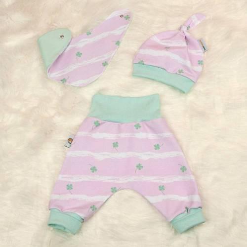 """Baby Mädchen Set Pumphose-Mütze-Tuch Sweat Kleeblätter """"Lucky"""" rosa Gr. 40 44 50 56 62 68 74 80 86 92 98 104 110 116 Geschenk Geburt"""