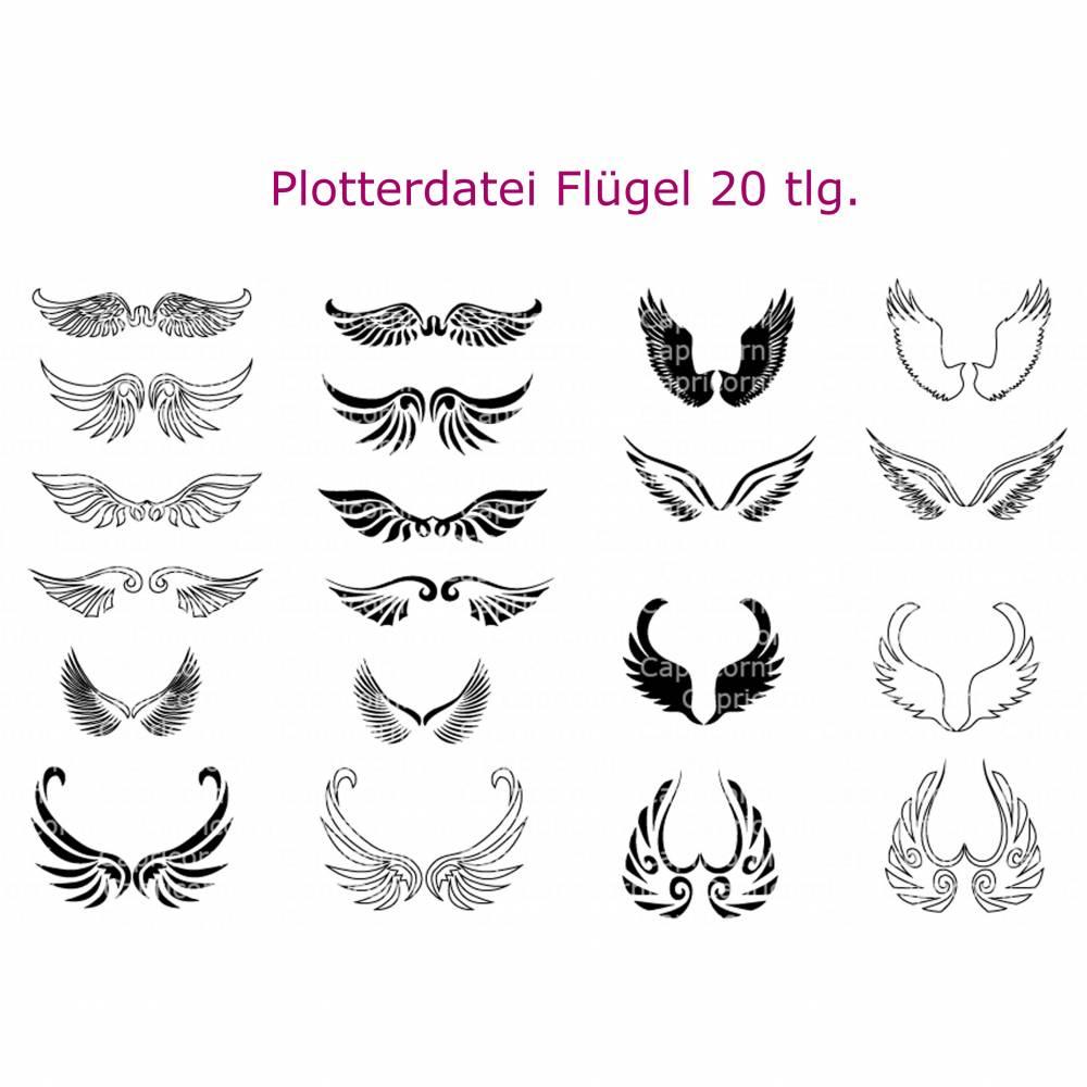 Plotterdatei Flügel Engelsflügel Engel 20 teilig Bild 1