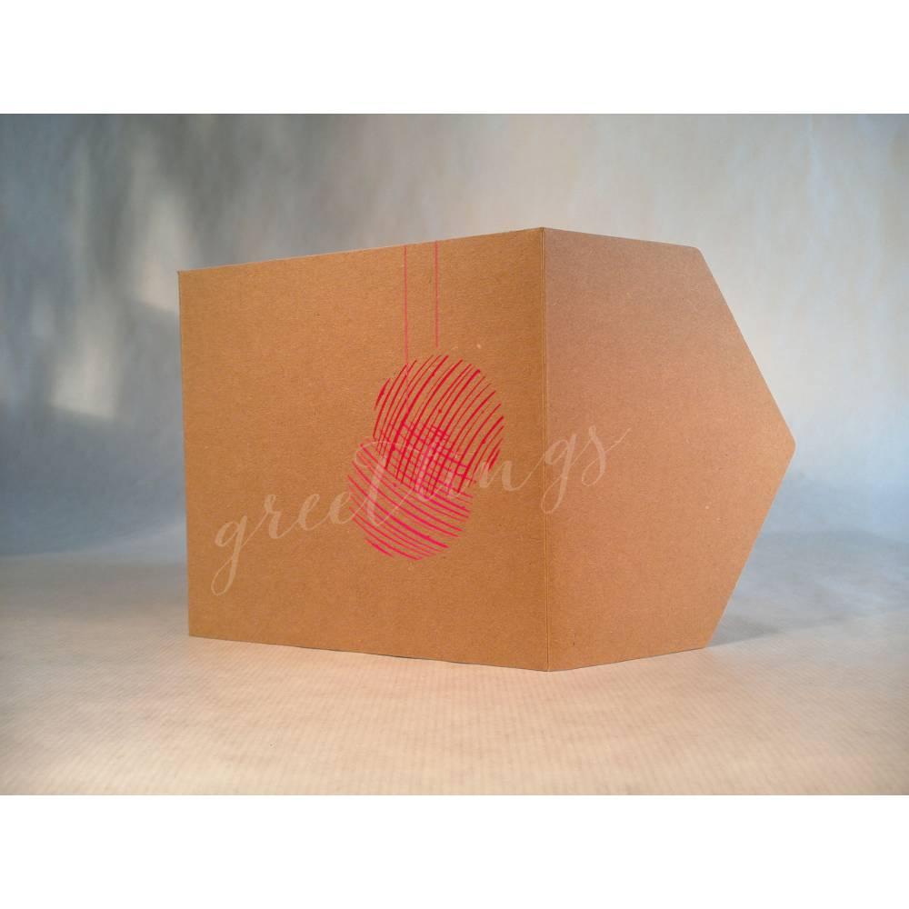 Taschenkarte / Gutscheinkarte Weihnachten, Handsiebdruck Bild 1