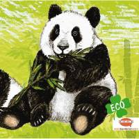 ECO Wandbordüre: Pandabären - nach Aquarellart - 23 cm Höhe Bild 1