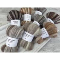 Multicolor-Schnupper-Paket – naturfarbige Spinnfasern, Mini-Kammzüge zum Spinnen, Spinnwolle  – 160g Bild 1