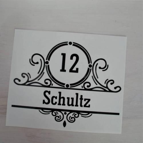 Türschild Name und Hausnummer