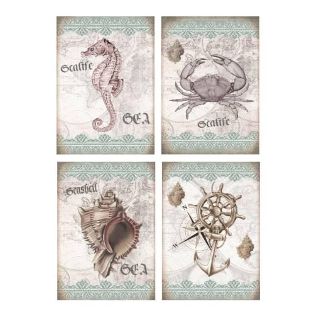 Aufkleber - Etiketten - Papier - Folie - maritm - Seepferd - Muschel - Meer - Vintage - Shabby - 1170 Bild 1