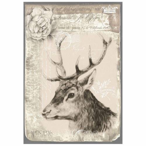 Bastelpapier - Decoupage-Papier - A4 - Softpapier - Hirsch - Weihnachten - Winter - Vintage - Shabby - 12130