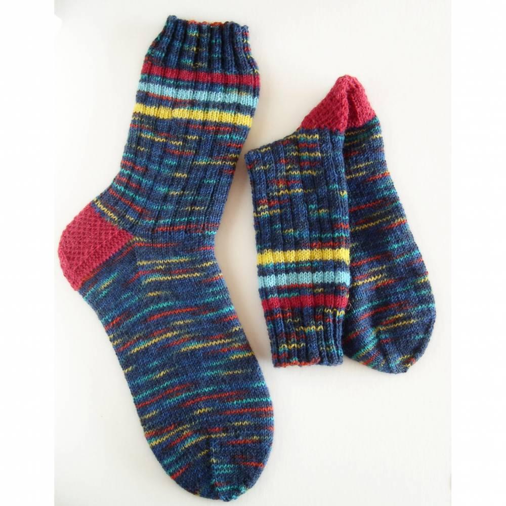 Herrensocken Männersocken, Wunschgröße bunte Mulitcolor Männer-Socken, handgestrickte Socken Männer, Wollsocken Männer, Socken,  Bild 1