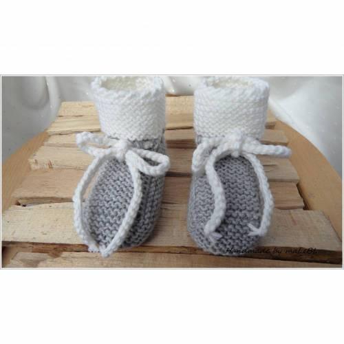 Babyschuhe, Wollschuhe handgestrickt aus Wolle Merino in grau