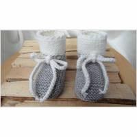 Babyschuhe, Wollschuhe handgestrickt aus Wolle Merino in grau Bild 1