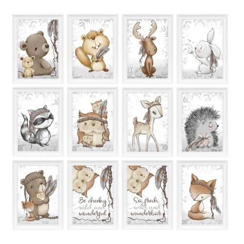 A4 - Babyzimmer Kinderzimmer Bilder Waldtiere Tiere Reh Fuchs Eule Kinderbild