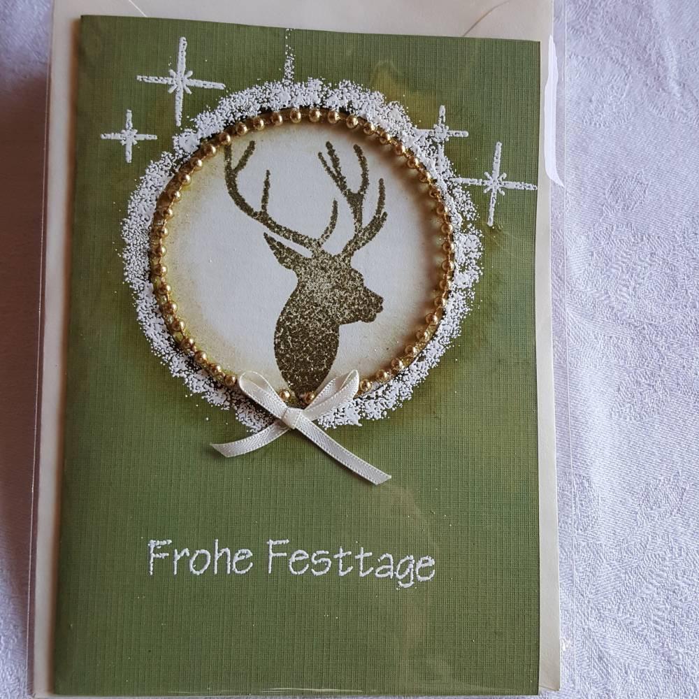 Weihnachtskarte Hirschkopf rund in DIN A6, gestempelt  Bild 1