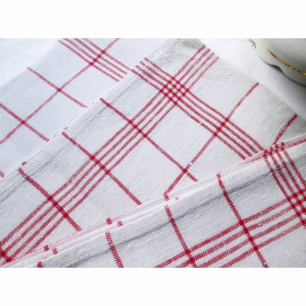 Handtuch, Geschirrtuch, Küchentuch, Trockentuch aus Leinen oder Halbleinen, rot-weiß kariert Bild 1
