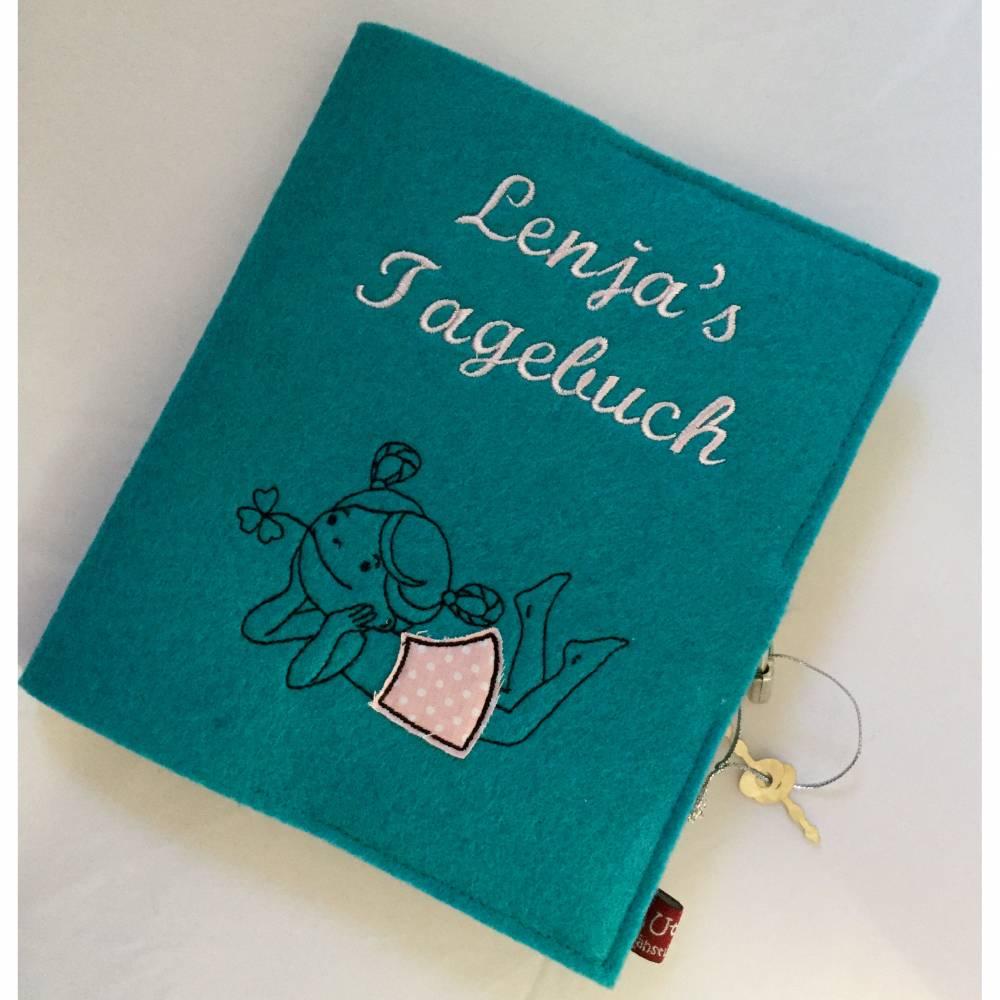 Tagebuch aus Filz mit Namen  Bild 1