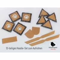 Hoodie-Set mit Ösen Patches aus Snappap 10mm mit Metallöse, grau Bild 1
