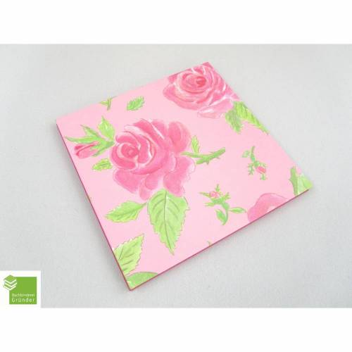 Leporello, rosa, pink, Rosen, 10 Flächen, 16 x 16 cm