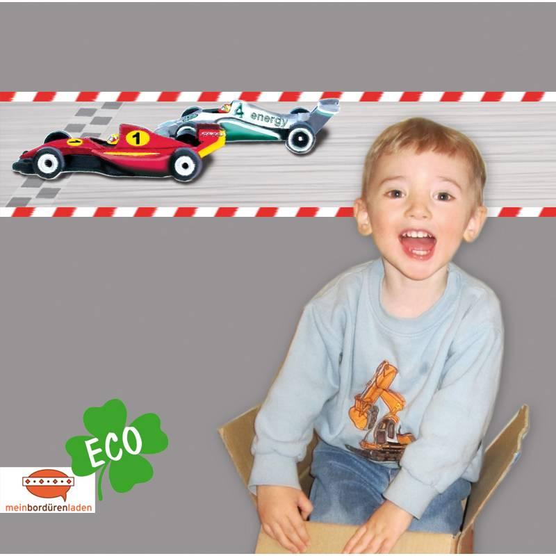 ECO Kinderbordüre: Autorennen - Rennstrecke - 18 cm Höhe Bild 1