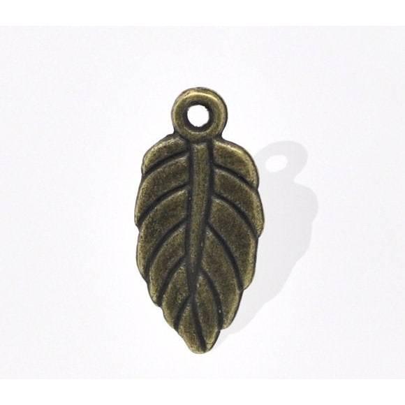 10  Anhänger ,Blatt, Blätter,bronze, Vintage-Stil , charm, charms, Schmuckanhänger, 14383 Bild 1