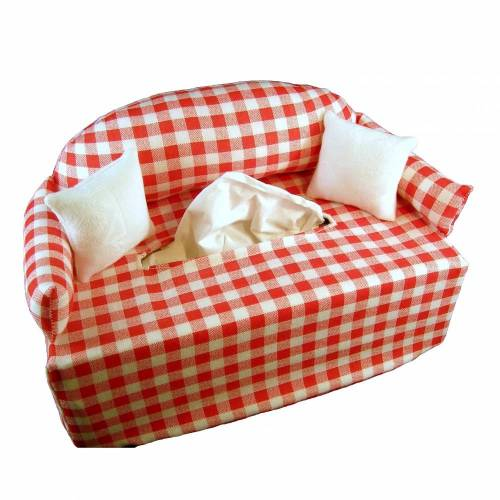 Sofa rot-weiß-kariert Kosmetiktuchboxbezug