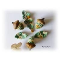 Häkelapplikationen - Aufnäher - 6-teiliges Häkelset: 3 Eicheln mit Blättern  Bild 1