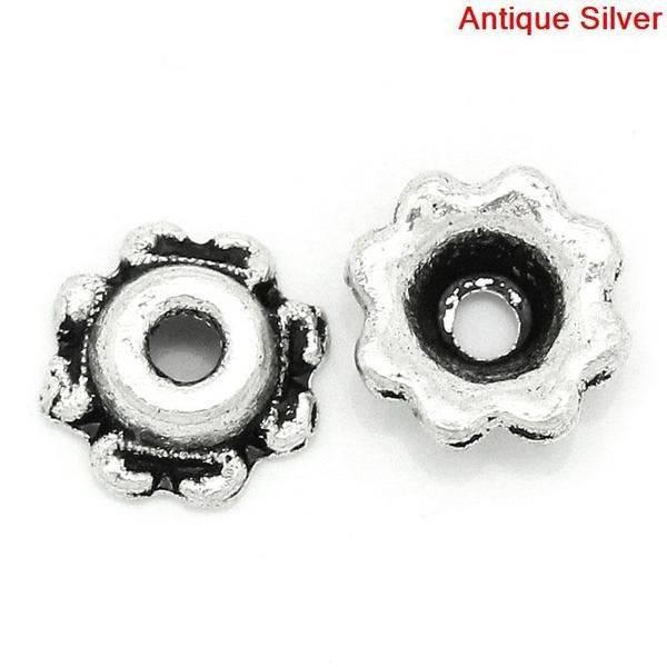 40 Perlkappen, verziert, silber, Vintage-Stil, Perlen, Perlkappen, Glasperlen,  10505 Bild 1