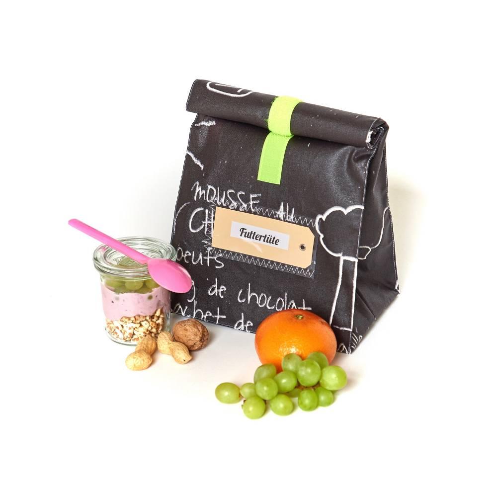 Lunchbag/ brotbeutel/ schwarz- weiß/ tafelstoff/ beschichtete Baumwolle, wasserabweisend Bild 1