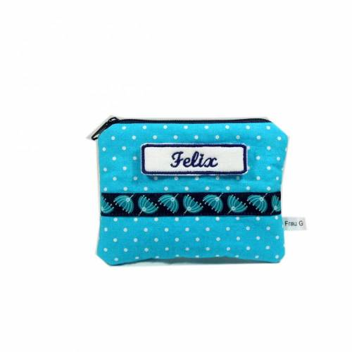 Mäppchen Täschchen Etui Geldbörse türkis blau weiß Punkt Punkte handmade