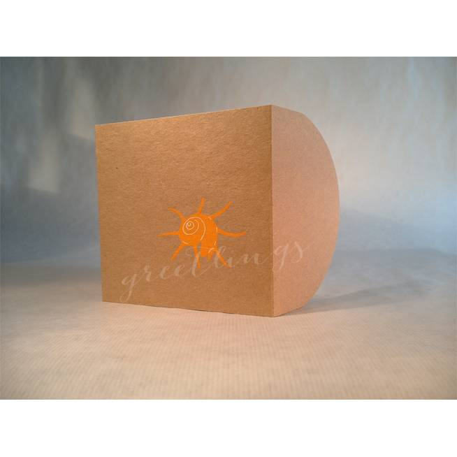 Taschenkarte / Gutscheinkarte Muschel neon orange, Linolstempel Bild 1