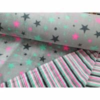 Fleece Doubleface, Sterne, Streifen, grau, pink, türkisgrün Bild 1