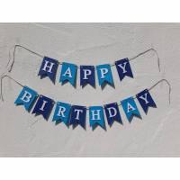 Geburtstags Girlande Happy Birthday Wimpelkette auf Wunsch mit Namen personalisiert Fahnengirlande blau hellblau Bild 1