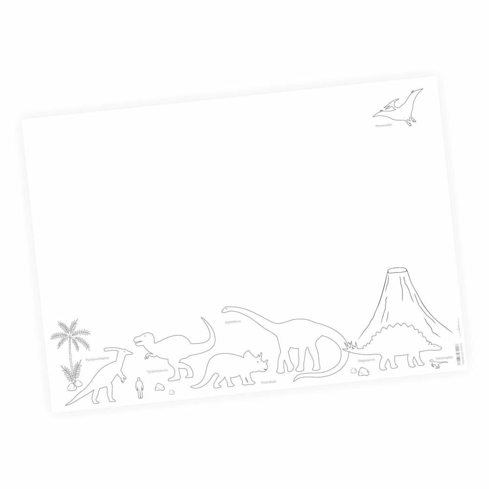 A2 Schreibtischunterlage Dinosaurier zum ausmalen  Malunterlage Junge Mädchen Kinderzimmer Schreibtisch 25 Blatt T-Rex Triceraptor Dino Bild 1